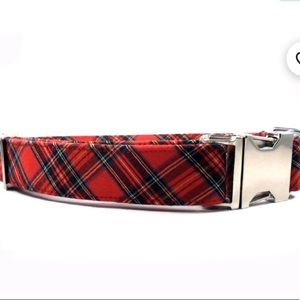 Dogware Adjustable Red Check Plaid Dog Collar Smal